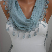 Soft Blue Shawl Scarf - Headband - Cowl with Lace Edge/Spring Trends
