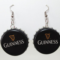 Beer Bottle Cap Earrings Guinness Stout