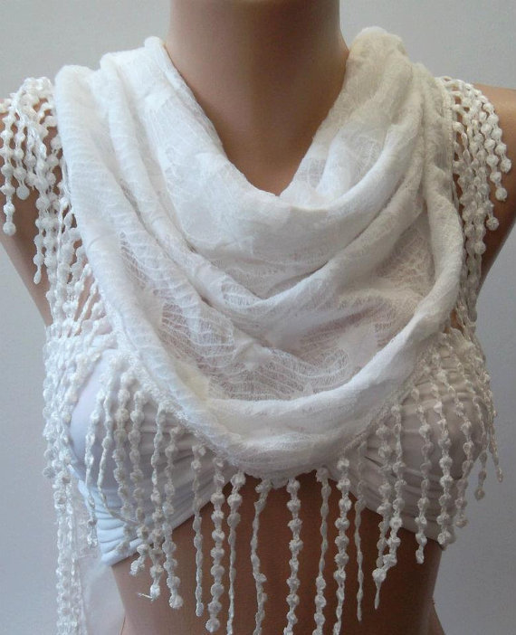 White - Elegant /Shawl / Scarf