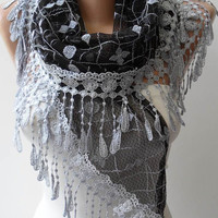 Black and Grey Laced Scarf with Grey Trim Edge  - Speacial Laced Fabric - Triangle
