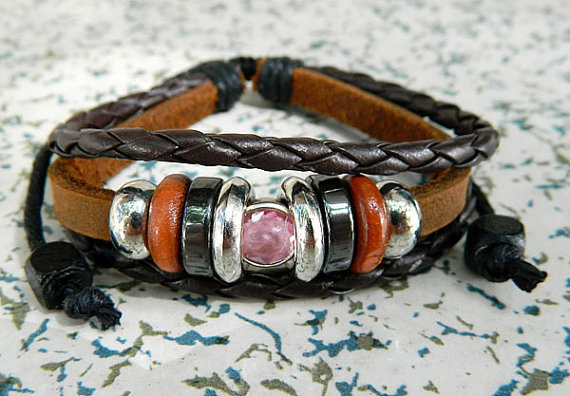 Adjustable metal bracelet pink diamond compact couple Leather Braided Bracelet  Stones beads wood beads