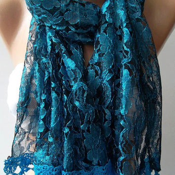 Blue /Elegance  Shawl / Scarf with Lacy Edge