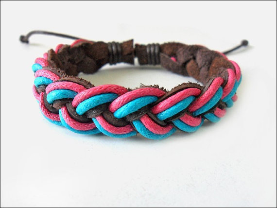 Jewelry bangle leather bracelet woven bracelet girl bracelet women bracelet With leather and cotton ropes Woven bracelet Cuff  1SZ-LH-0353
