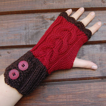 Knit merino fingerless gloves / arm warmers/ writs warmers / fingerless gloves, chocolate brown and berry red