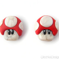 Nintendo Red Mushroom Mario MAGNETS (hand-made)
