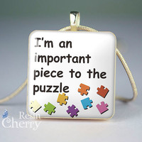 phrase necklace pendant,art scrabble tile pendant,I'm an important piece in the puzzle- P0799SI