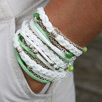 "BOHO Chic - TRIPLE Wrap - Beaded Bracelet - Faux Suede - White / Lime Green - 22.5"" - Wrist 5.85"" to 6.15"" - Silver Accents - Ref 252"