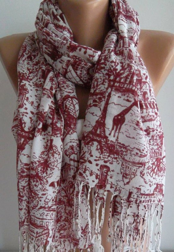 Red /Shawl / Scarf  / cotton/ Eiffel