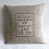 The Beatles Song Quote Let It Be Hessian Burlap Pillow Cushion Cover 16&amp;quot;