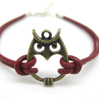 Red Leather Bronze Owl Bracelet B045-11