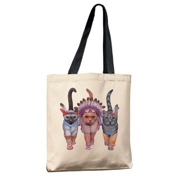 Festive Costume Indian Cats Tote Bag