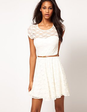 ASOS Lace Skater Dress with Belt at asos.com
