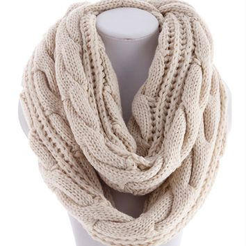 cozy soft cable knit infinity scarf , ivory knitted texture textured detailing crochet yarn handmade beautiful warm cozy fall winter women's