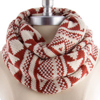 tribal infinity knit scarf , rust - Default Title