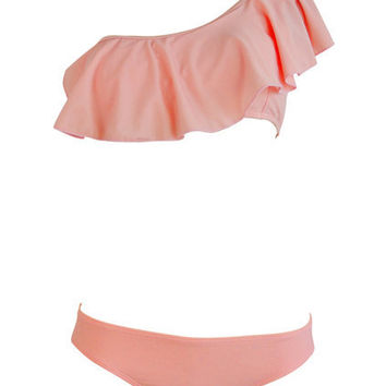 Single Shoulder Falbala Swim Suit [ABKX0092] - $33.99 :