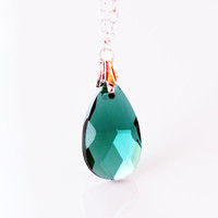 Crystal teardrop necklace women affordable gift