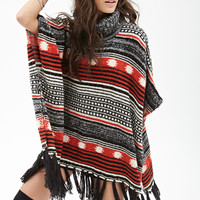 FOREVER 21 Mixed Stripe Tassel Poncho Black/Multi One
