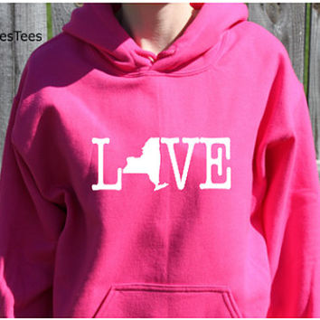 Love New York Hoodie, New York Sweatshirt, State, Home,