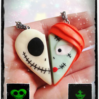 Halloween heart keychain polymer clay inspired Jack & Sally Nightmare Christmas- BBF - friendship - best friends forever - Valentine's day