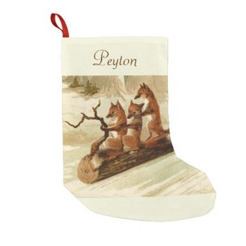 Sledding Foxes Personalized Christmas Stocking