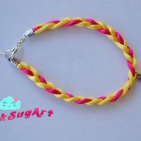 Satin Cord Braid Bracelet - Hot Pink &amp; Yellow - Customs Are Welcome - Handmade by PinkSugArt