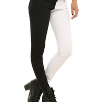 Royal Bones White And Black Split Leg Skinny Jeans