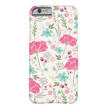 Cute Pink Spring Flower Pattern Barely There iPhone 6 Case