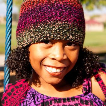 Handmade Crochet beanie - Neon Colors and Black - includes orange square blink button- color blocked -ready to ship