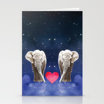 Elephant Love Stationery Cards by NisseDesigns