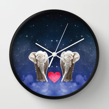 Elephant Love Wall Clock by NisseDesigns
