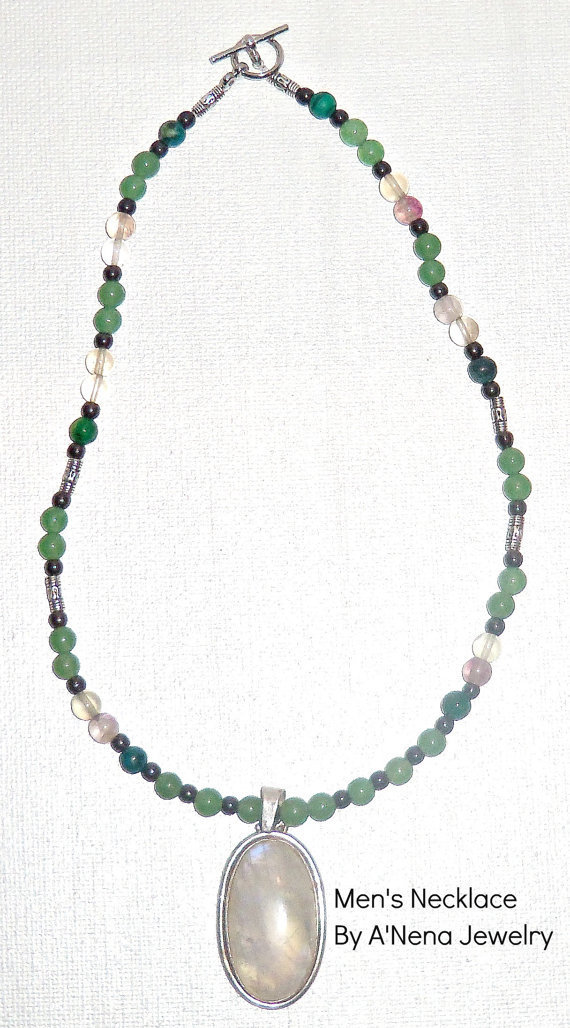 "Men's Necklace ""Responsible/Successful""15th Century Machu Picchu Inspired  Genuine: Jasper, Hematite, Aventurine & Silver Plated Copper"