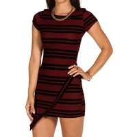 Burgundy Striped Asymmetrical Tunic