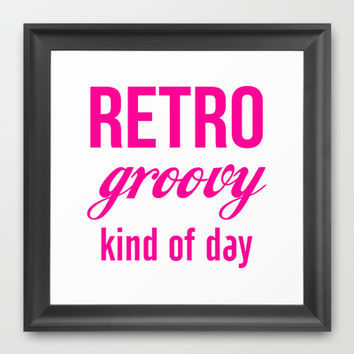 Retro Groovy Kind Of Day Framed Art Print by raineon