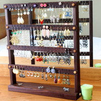 Earring Holder - Jewelry Organizer Stand, Peruvian Walnut Wood.  Holds 72 Pairs of Earrings.