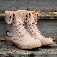 Cambridge Beige Fur Rustic Boots