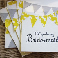 Letterpressed Bridesmaid Cards with Grey and Yellow by AllieRuth