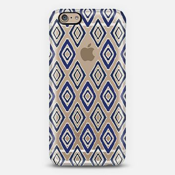 Indigo and Navy Tribal Diamonds on Transparent iPhone 6 case by Micklyn Le Feuvre | Casetify