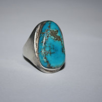 Very Large Turquoise Stone Vintage Sterling Silver Ring Size 10.25- Free US Ship