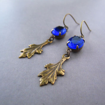 Vintage Style Earrings - Brass Leaf - Midnight Blue Jewels