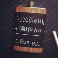 Woodgrain Wood Chalkboard Black Stainless Steel Hip Flask Blackboard