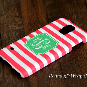 Teen Pink Stripes Monogram Samsung Galaxy S5/S4/S3/Note 3/Note 2 Protective Case