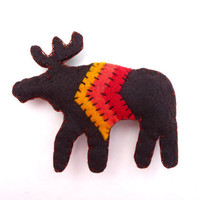 Rustic moose with chevron magnet, number 74