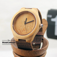 Natural Bamboo Wooden Watch, With Leather Strap, Mens Watch, Wedding Gift, Wood Watch,