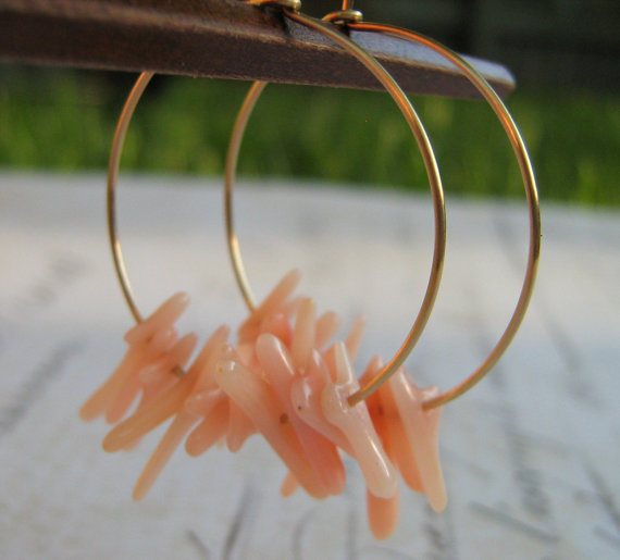 Coral Earrings, Gold Hoop Earrings, Pink Bamboo Coral and 14k Gold Filled Hoop Earrings