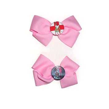 CHOOSE ONE Pink Ribbon Bow Hair Clip Accessory with Pin Back Button Center