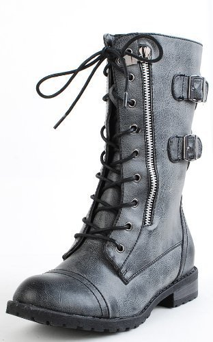 Tina01 Lace Up Combat Boots BLACK