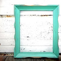 8 x 10 Aqua Mint FRAME - Vintage Gallery Wall Frame or Wedding Decor Romantic Cottage