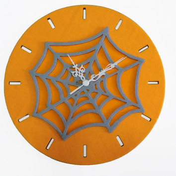 Halloween Wall Clock - Wood Orange Clock - Spider Web Decor - Handmade Home Decor - Nursery Wall Decor
