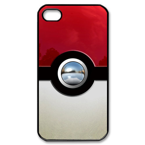 iphone 4 case Pokemon Pokeball Chrome Button Apple iPhone 4/4s Case (Black / white Color Case)