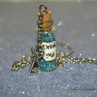 Alice in Wonderland Drink Me Bottle Necklace with a Key Charm